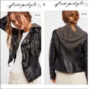 Free People Vegan Leather Jacket Sz 4 AS IS DAMAGE